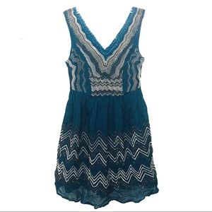 Anthropologie Meadow Rue blue embroider bead tank